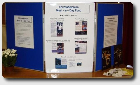 A poster describing the work of the Christadelphian meal a day fund.