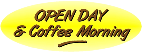 Image containing the text Open day and coffee morning