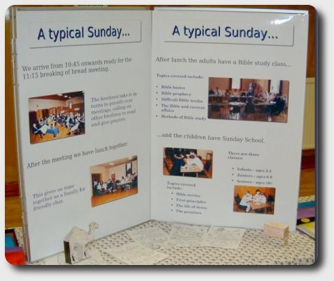 Posters giving information about what happens on a Sunday.